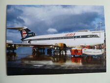 British European Airways, Trident 2, G-AVFN, Glasgow Airport, 1973, new postcard