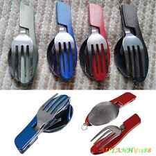 Outdoor Camping Hiking Stainless Steel Folding  Knife Fork Spoon Cutlery Set ahy