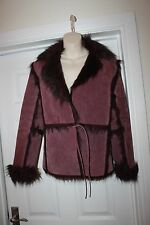 Ladies Betty Jackson Genuine Suede Coat with Faux Fur Trim Size 10 Sheepskin
