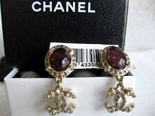 Chanel AUTH NIB Texutred Gold Studded CC Drop Purple Jewel Clip On Earrings 12A