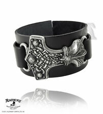 Alchemy Metal Wear Norse God Thor's Thunderhammer on Italian Leather Wrist Strap