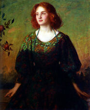 Oil painting Mostyn Thomas Portrait Of A Lady beautiful young woman in landscape