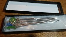 GEICO GECKO DRINK STIR STICKS STAINLESS AND PETWER NEW NEVER USTED