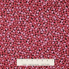 Valentine's Day Fabric - Kiss & Tell Red Pink Heart Toss - Benartex Kanvas YARD