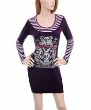 D55 -S/Small- Purple Stretchy KNIT Sweater Dress Foil/Rhinestones