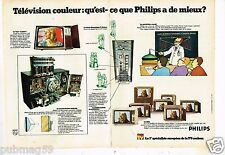 Publicité advertising 1973 (2 pages) Télévision téléviseur Couleur Philips