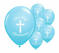 "16 x BLUE FIRST HOLY COMMUNION 12"" HELIUM BALLOONS PARTY DECORATIONS  (PA)"
