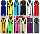 ADJUSTABLE BRACES 35MM MENS WOMENS UNISEX ELASTIC Y-BACK SUSPENDERS CLIP ON