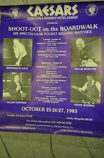 BILLIARDS POSTER CEASARS BORDWALK HOTEL CASINO 1983 FATS/ MOSCONI