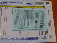 Microscale Decal N #70022 Gothic Condensed Letters & Numbers Black Lettering