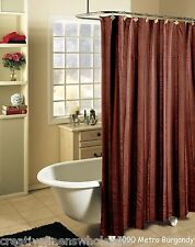 Metro Stripe Fabric Shower Curtain BURGUNDY with Black Holiday Creative Linens
