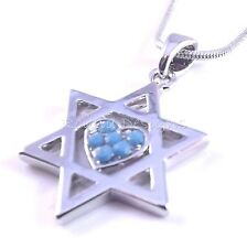 Star Of David Magen Judaica Heart Necklace Pendant Kabbalah Jewelry Silver Stone
