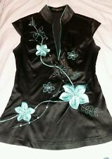 jane norman size 8  black Japanese style top blue flowers sequins beads