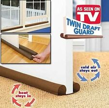 2X Twin Double Draught Cold Draft Air Excluder Insulator Door Windows Dual Guard