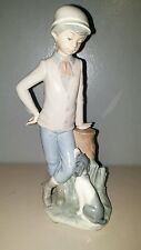 Lladro Nao figurine Boy With Dog Spain 9 inches Tall