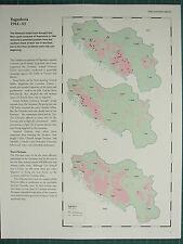 WW2 WWII MAP ~ YUGOSLAVIA 1941-43 LIBERATED ~ BESIEGED AXIS FORCES