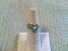 "Silver Ray's ""V"" Ladies Ring Sterling Silver/GF w/Turquoise & CZ"