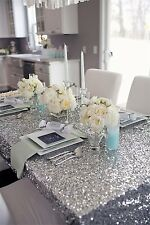 On Sale!! 120cmx180cm Silver Sequin Table Cloth For Wedding/Event/Party/Banquet