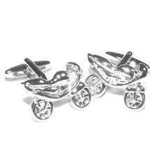 Silver Sporty Motorbike Cufflinks With Gift Pouch Fast Bike Racing Speed Present