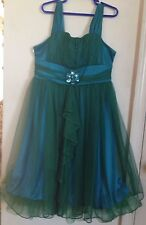 Sequin Heart Girls Occasion Green/Blue Dress with Green Flower Broach Size 12.