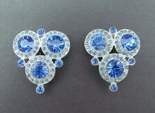 Vintage Art Deco Pair Of Sapphire Blue Rhinestone Silver Dress Scarf Fur Clips