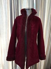 L.L. Bean Red Nordic Fur Lined Floral Embroidered Coat Faux Sherpa XS Excellent