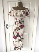 White Flower Print Detail Bodycon Wiggle Pencil Midi Dress Size 14 - Brand New