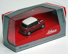 Schuco 1/64 Mini Cooper Red W/White Roof And Stripes 452011700