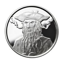 1 OZ SILVER COIN *BLACKBEARD* EDWARD TEACH PIRATE SILVER COIN *PROOF # ON RIM*