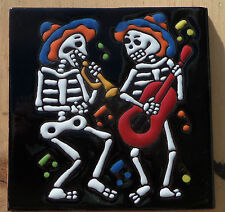 "Talavera Mexican tile 4"" Day of  the Dead high relief Musicians blue hat guitar"