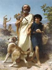 WILLIAM ADOLPHE BOUGUEREAU HOMER HIS GUIDE 1874 OLD ART PAINTING PRINT 3120OMA