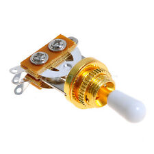 Gold Guitar 3 Way Toggle Switch Pickup Selector W/ White Tip For Les Paul Guitar