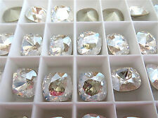 4 Moonlight Foiled Swarovski Crystal Square Cushion Cut  Stone 4470 12mm
