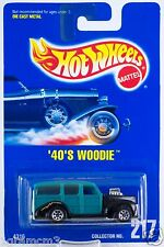 Hot Wheels Collector No. 217 '40's Woodie Teal With 7 SPs Blue Card 1995 New