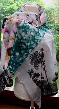 LARGE LANDSCAPE ABSTRACT FLOWERS Dries Van Noten Scarf Cotton SILK Scarf Rare