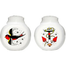 Sourpuss Anchor & Sparrow Salt and Pepper Shakers Tattoo Rockabilly Housewares