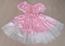 PRETTY PINK SATIN/SHEER/LARGE BOW SISSY DRESS  SIZE 2X