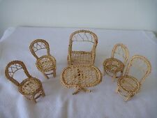 Vintage Wicker Doll Furniture - 4 chairs, bench and table