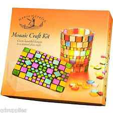 MOSAIC TILE CRAFT KIT CANDLE GLASS VOTIVE & TRINKET BOX HOUSE OF CRAFTS GIFT SET