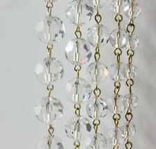 3FT CLEAR GLASS PRISM BEAD 10MM CRYSTAL CHANDELIER LAMP PART WEDDING BRASS CHAIN
