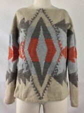 LAUREN RALPH LAUREN Women's Beige Southwest Aztec Lambswool Sweater MEDIUM
