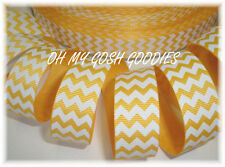 7/8 EASTER YELLOW WHITE CHEVRON ZIG ZAG STRIPE GROSGRAIN RIBBON 4 HAIRBOW BOW