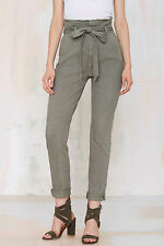 NWT $178 7 For All Mankind Loretta Paper Bag High Rise Olive Pant Jeans 26
