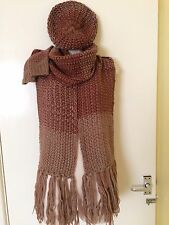 Mango Ombre Multi Burgundy Red Pink Scarf Hat Gloves Set, Zara Group