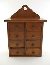 """Vintage Cabinet Box  8 Drawers  Free Standing  Wall   9.75""""   Jewellery / Spices"""