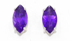 3 Ct Amethyst 10x5mm Marquise Stud Earrings .925 Sterling Silver