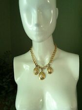 Napier Gold Tone & Pearl Triple Pendant Chain Necklace