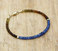 Natural Burma Sapphire and Tourmaline Bracelet 14K Yellow Gold Filled 5th 8th 45