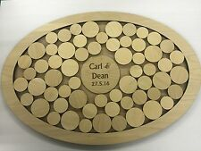 Personalised oval shaped wedding guest book drop box birch plywood 54 circles