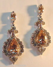 GENERATIONS 1912-GENUINE MORGANITE & WHITE SAPPHIRE EARRINGS